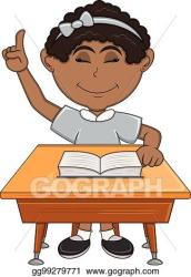 EPS Illustration Girl studying with school table cartoon Vector Clipart gg99279771 GoGraph