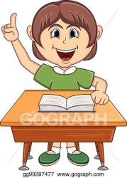 EPS Illustration Girl studying with school table cartoon Vector Clipart gg99287477 GoGraph