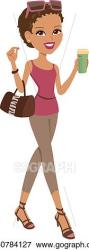 Vector Art Girl walking Clipart Drawing gg60784127 GoGraph
