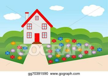 Vector Art House with a flowering garden Clipart Drawing gg70391590 GoGraph