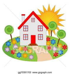 Vector Art House with a flowering garden Clipart Drawing gg70391703 GoGraph
