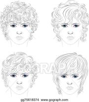 vector art - male curly hairstyles