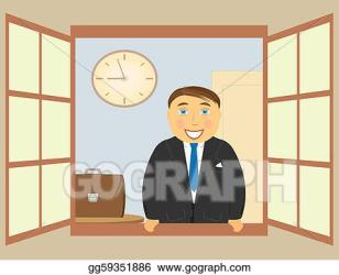 window open clip illustration standing gograph cheerful smiling