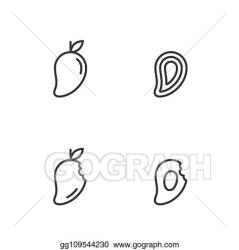 Vector Clipart Mango fruit icons outline stroke set design illustration black and white color isolated on white background vector eps10 Vector Illustration gg109544230 GoGraph