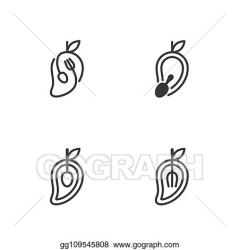 Vector Stock Mango fruit with spoon and fork icons outline stroke set design illustration black and white color isolated on white background vector eps10 Stock Clip Art gg109545808 GoGraph