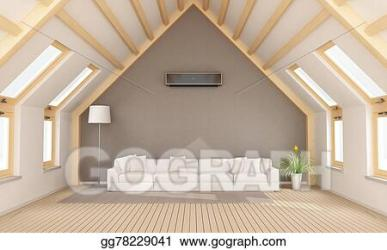 attic modern clipart drawing illustration gograph beams rendering sofa wooden 3d
