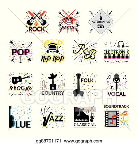vector stock - music genres signs