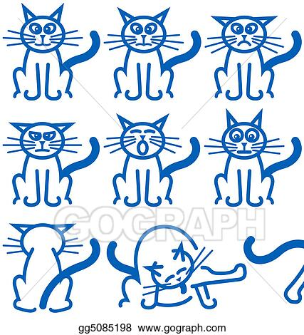 Clip Art Nine Common Expressions Of A Cat Stock