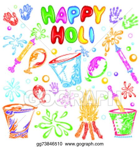 Vector Art Object For Holi Festival Clipart Drawing Gg73846510 Gograph