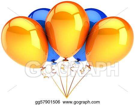 clip art - party balloons colored