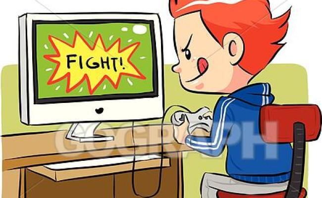 Vector Art Playing Computer Games Clipart Drawing