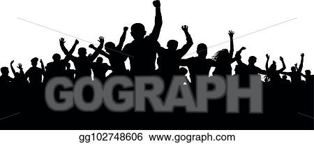 Vector Clipart Protesters enraged crowd of people silhouette vector angry mob Vector Illustration gg102748606 GoGraph