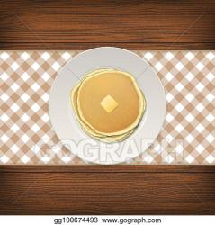 Vector Art Realistic pancake with a piece of butter on a white plate closeup on wood background top view design template for breakfast food menu and homestyle concept vector eps10 illustration