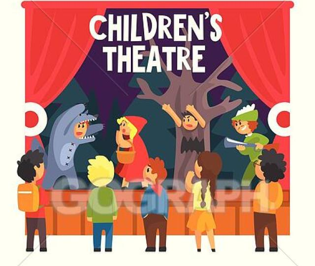 Red Hood Fairy Tale Show Scene With Wolf And Hunter Performed By Kids In Amateur Theatre With Other Pupils Watching