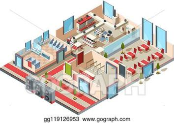 EPS Illustration Restaurant interior cafe kitchen hall toilets and room with furniture and equipment for making food vector isometric design Vector Clipart gg119126953 GoGraph
