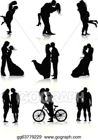 vector art - romantic couples silhouettes