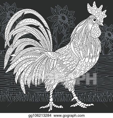 Vector Art Rooster Coloring Page Clipart Drawing Gg106213284 Gograph