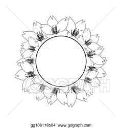 EPS Illustration Sakura cherry blossom outline banner wreath Vector Clipart gg106178504 GoGraph
