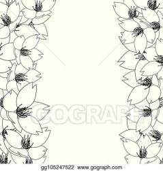 Vector Clipart Sakura cherry blossom outline border Vector Illustration gg105247522 GoGraph