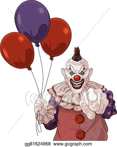 vector art - scary clown. clipart