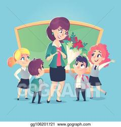 teacher flowers happy give clipart schoolchildren vector classroom teachers gograph eps