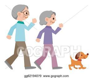 jogging senior couple drawings illustration gograph clip