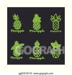 Vector Clipart Set of black and white graphic pineapple logo templates Vector Illustration gg97516710 GoGraph