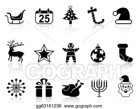 simple black christmas icons set from white background