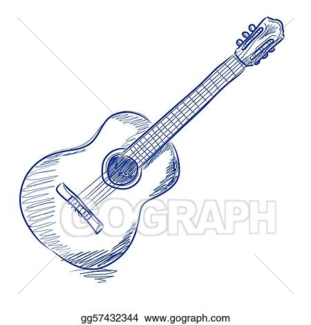 Vector Stock Sketched acoustic guitar Stock Clip Art