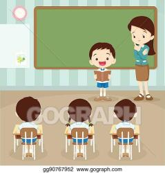 student reading classroom boy students clip teacher front clipart pages teaching vector gograph
