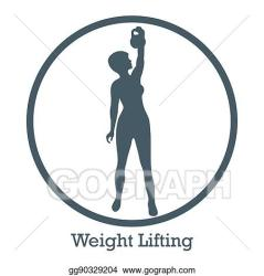 Vector Stock Stylized icon of fitness sport athletic woman holds kettlebell training female body Clipart Illustration gg90329204 GoGraph