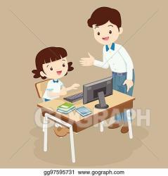 Vector Art Teacher teaching computer to student girl Clipart Drawing gg97595731 GoGraph