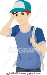 Vector Stock Teen boy college prospects worried Stock Clip Art gg83194293 GoGraph