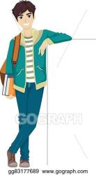 EPS Illustration Teen guy college student lean board Vector Clipart gg83177689 GoGraph