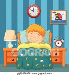 sleeping boy bed clipart illustration vector gograph
