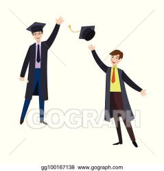 EPS Vector Two happy college students in graduation gowns Stock Clipart Illustration gg100167138 GoGraph