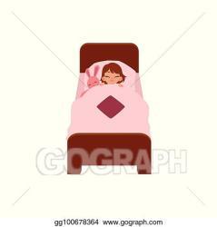 Vector Clipart Vecotr flat cartoon girl sleeping in bed Vector Illustration gg100678364 GoGraph