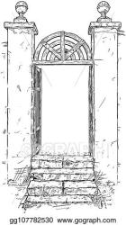 Vector Stock Vector artistic drawing illustration of decorated garden gate Clipart Illustration gg107782530 GoGraph