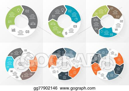 3 arrow circle diagram long and short sighted vector stock arrows infographics set template for cycle graph presentation round chart business concept with 4 5 6 7 8 options
