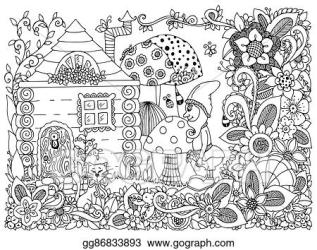 House Garden Clipart Black And White