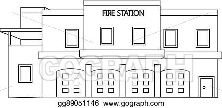 fire station clipart line vector illustration eps gograph building
