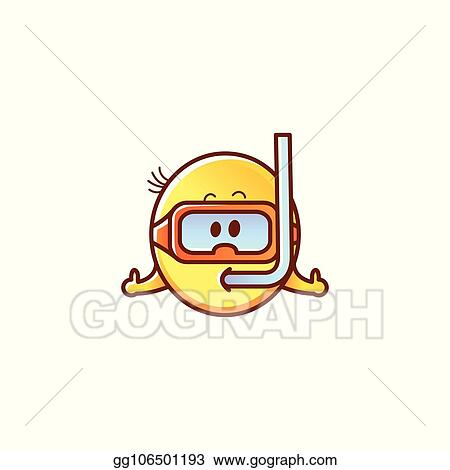 Vector Art Vector Male Smiley Face Emoticon Snorkeling Clipart Drawing Gg106501193 Gograph