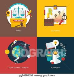 Vector Clipart Vector set of flat design illustration concepts for civics study economics earth and space sciences psychology education and knowledge ideas concepts for web banner and promotional material Vector Illustration