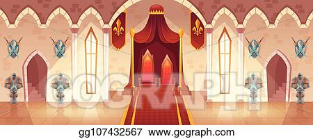 Clip Art Vector Vector throne room in medieval palace castle hall Stock EPS gg107432567 GoGraph
