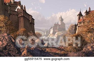 Drawing Village castle in medieval times Clipart Drawing gg55915475 GoGraph