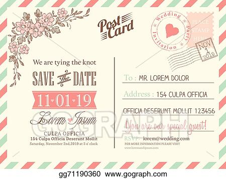 Vector Art Vine Postcard Background Template For Wedding Invitation Clipart Drawing Gg71190360