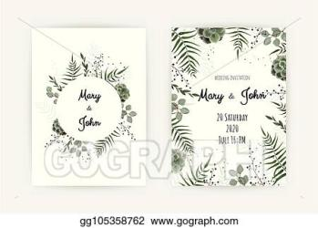Vector Illustration Wedding invitation with green leaf eucalyptus branches decorative wreath frame pattern vector elegant watercolor rustic template Stock Clip Art gg105358762 GoGraph