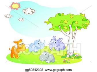 Vector Stock Young animals cartoon with garden Clipart Illustration gg69842398 GoGraph
