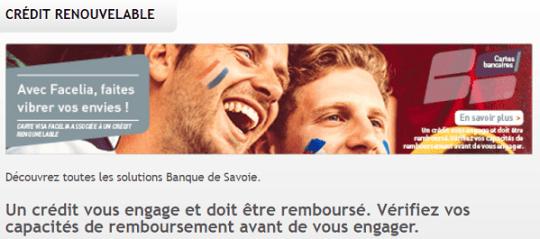 Crédit renouvelable Banque de Savoie