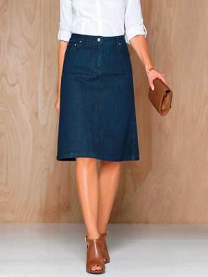La jupe évasée en jean denim bleu extensible